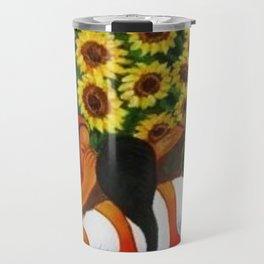 Classical Masterpiece Sunflowers 'Chismosas' by Diego Rivera Travel Mug