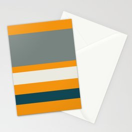 A prime package of Midnight Green (Eagle Green), Platinum, Tangerine and Medium Grey stripes. Stationery Cards