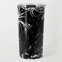 Large Sun Print, black & white solar design by Little Lark Travel Mug