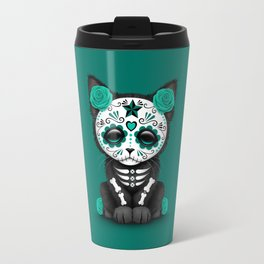 Cute Teal Blue Day of the Dead Kitten Cat Travel Mug