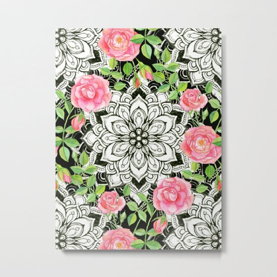Peach Pink Roses and Mandalas on Black and White Lace Metal Print