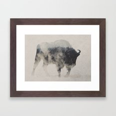 Bison In The Fog Framed Art Print