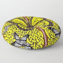 Yellow & Grey Celtic Monarch Butterfly Brown Art Floor Pillow