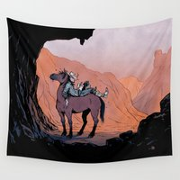 cowboy Wall Tapestries featuring Reading Cowboy by chacomics