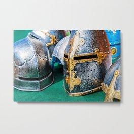 Medieval Knight Or Crusader Helmets Metal Print