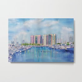 Aqua Towers and Marina in Long Beach Metal Print
