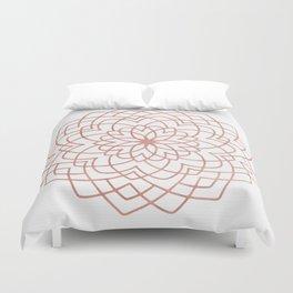 Mandala Blossom Rose Gold on White Duvet Cover