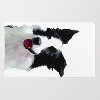 border collie Area & Throw Rugs featuring Border Collie by Albert Tjandra