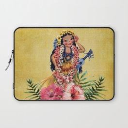 Hula Doll With Ukelele and Big Pink Flowers Laptop Sleeve