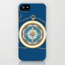 Fantasy Nautical Compass with Dolphins iPhone Case
