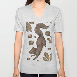The Squirrel and Chestnuts Unisex V-Neck
