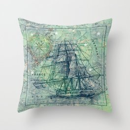Vintage Clipper Ship Throw Pillow