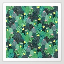 Summer Green Teal Cactus & Gold dots Cute Design Art Print