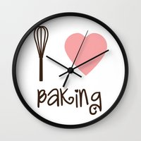 baking Wall Clocks featuring I Heart Baking by SweetToothStudio