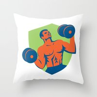 crossfit Throw Pillows featuring Strongman Crossfit Lifting Dumbbells Shield Retro by patrimonio