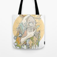 moss Tote Bags featuring moss by Cassidy Rae Marietta