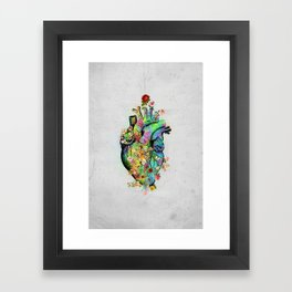 Flowers colorful heart watercolor Framed Art Print