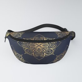 Gold and Navy Damask Fanny Pack
