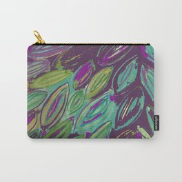 Purple Watercolor Leaves--painted and digital Carry-All Pouch