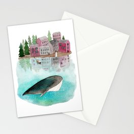 A whale is passing by Stationery Cards