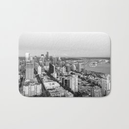 Seattle Skyline Harbor at sunset - black and white Bath Mat
