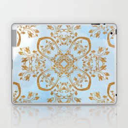 GOLD AND BLUE FLOURISH ORNAMENT MANDALA Laptop & iPad Skin