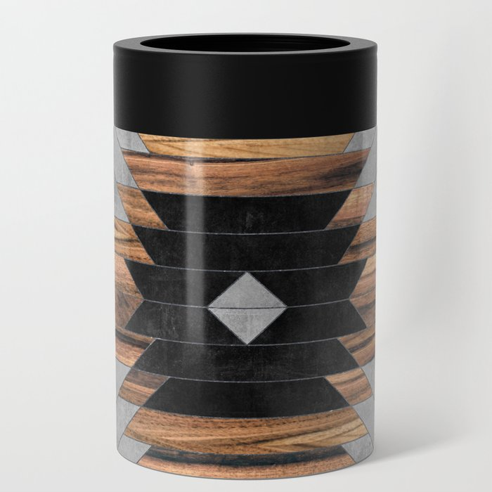 Urban Tribal Pattern No.6 - Aztec - Concrete and Wood Can Cooler