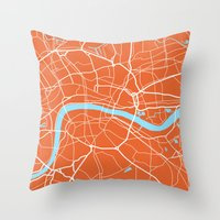 london map Throw Pillows featuring London Map by Studio Tesouro