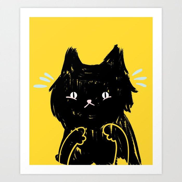 Scaredy Cat - Cute scared black kitty cat illustration Art ...