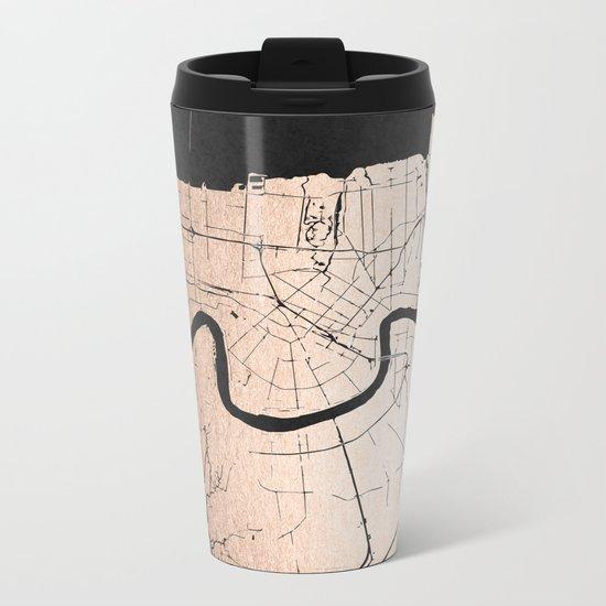New Orleans Rose Gold and Black Map Metal Travel Mug