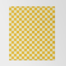 Cream Yellow and Amber Orange Checkerboard Throw Blanket