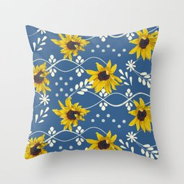 Sunflower and decorative elements Throw Pillow