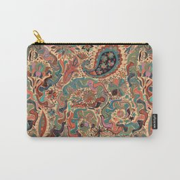 Stylized Boho Floral Pattern Carry-All Pouch