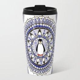 Winter Penguin Patterned Mandala Textile Travel Mug