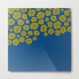 Yellow Cascading Roses on Classic Blue Metal Print