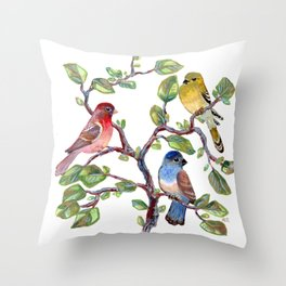 we finches three (two and a bluebird) Throw Pillow