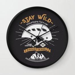 Stay Wild. Adventure Illustration Wall Clock