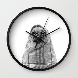 forever mood III - pug in a blanket Wall Clock