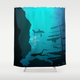 Beautiful coral reef and silhouettes of diver and school of fish in a blue sea Shower Curtain