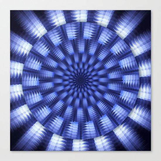 Round blue / white winter pattern design Canvas Print