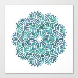 Mandala Succulent Blue Green Canvas Print
