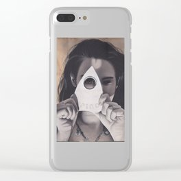 Realism Drawing of Beautiful Woman with Ouija Planchette Piece Clear iPhone Case