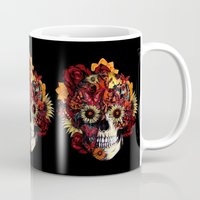 ohm Mugs featuring Full circle...Floral ohm skull by Kristy Patterson Design