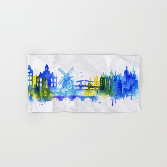 Color Amsterdam Skyline 01 Hand & Bath Towel