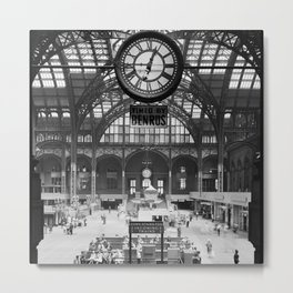 Penn Station 370 Seventh Avenue Train Station Concourse New York black and white photography - photo Metal Print