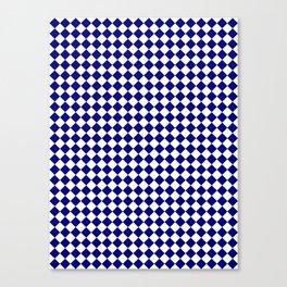 White and Navy Blue Diamonds Canvas Print
