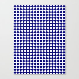 White and Navy Blue Diamonds Canvas Print