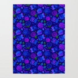 Watercolor Floral Garden in Electric Blue Bonnet Poster