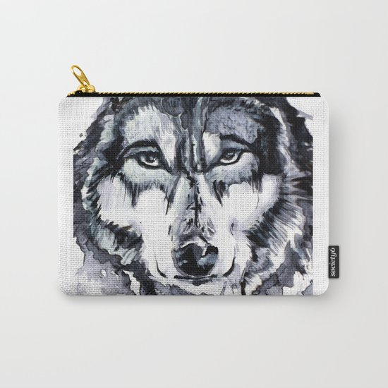 Abstract Wolf - Zoomed Carry-All Pouch