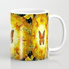 Monarch Butterfly Creany Yellow Sunflower Circle Coffee Mug